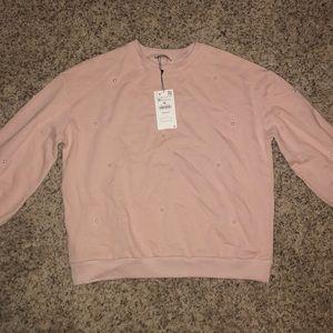 Pink Zara Pearl Long Sleeve Sweater